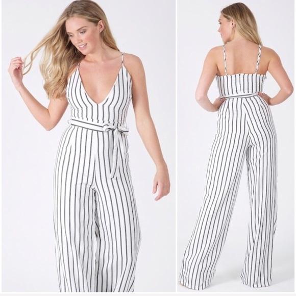9653bb36a07 🆕Emma White   Black Pinstripe Wide Leg Jumpsuit